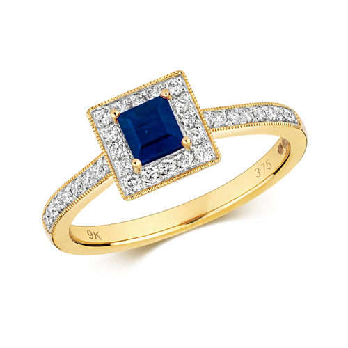 9ct Gold square Sapphire & Diamond Cluster Engagement Ring