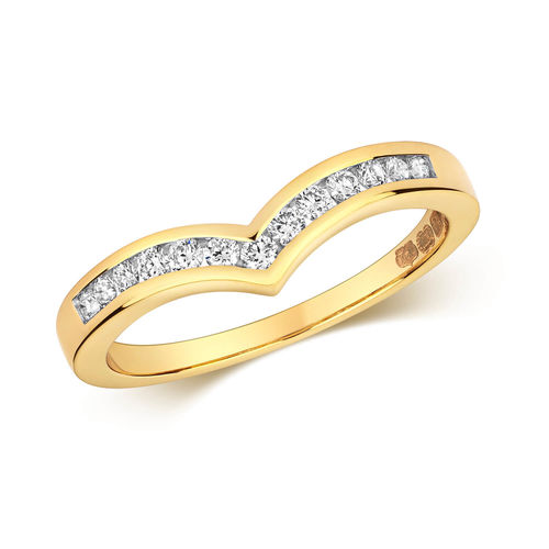 Womens 18ct Gold Channel set Diamond Wishbone Ring