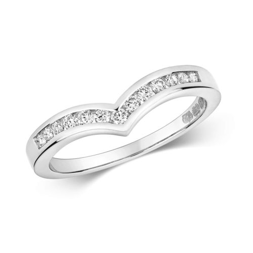 Womens 18ct White Gold Channel set Diamond Wishbone Ring