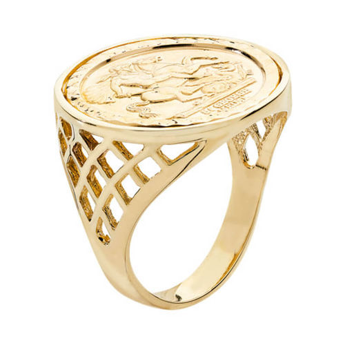 Mens 9ct Gold half Sovereign BSK side Ring