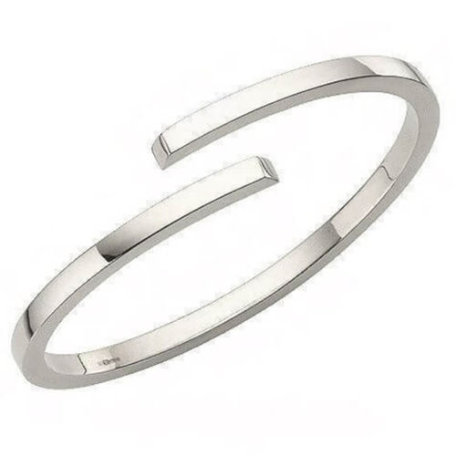 Solid 18ct white Gold 4mm square Bangle 62 grams