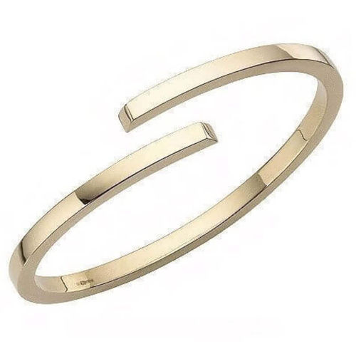 Solid 18ct Yellow Gold 2mm square Bangle 15 grams