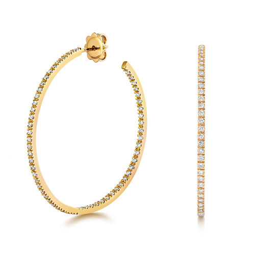 18ct Yellow Gold round 1.10CT Diamond Hoop Earrings