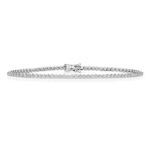 9ct White Gold round Diamond Bracelet