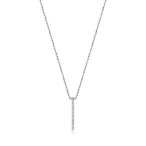 18ct White Gold Diamond Pendant Necklace 18 inch