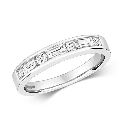 18ct White Gold Round & Baguette Diamond Eternity Ring