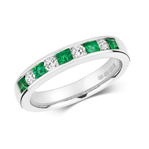 9ct White Gold Princess cut & Round Emerald Diamond Eternity Ring