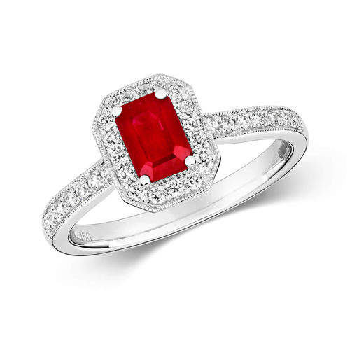 Womens 9ct White Gold Diamond Cluster Octagon Ruby Ring