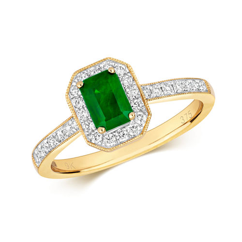 Womens 9ct Gold Diamond Cluster Octagon Emerald Ring