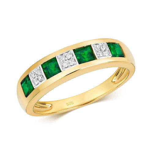 9ct Gold square Emerald & Diamond Eternity Ring