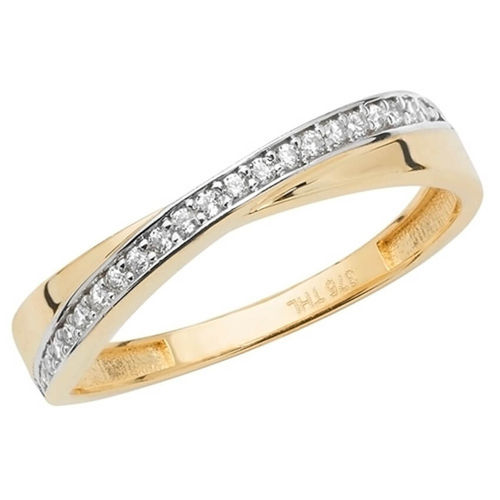 Womens 9ct yellow Gold CZ Stone Ring