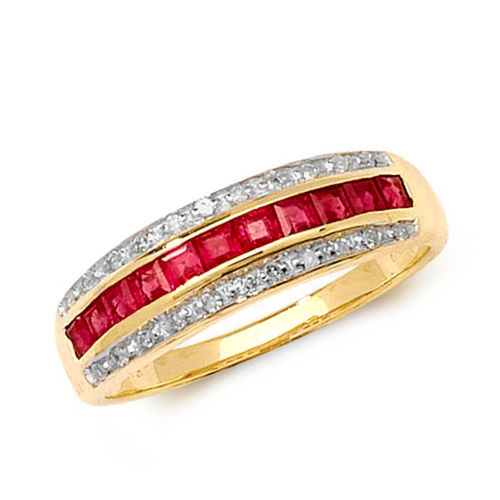 9ct yellow Gold Diamond & square Ruby Eternity Ring