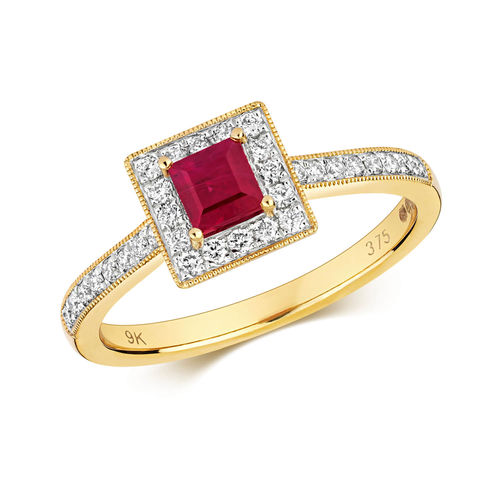 Womens 9ct Gold square Ruby & Diamond Cluster Ring