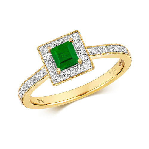 Womens 9ct Gold square Emerald & Diamond Cluster Ring