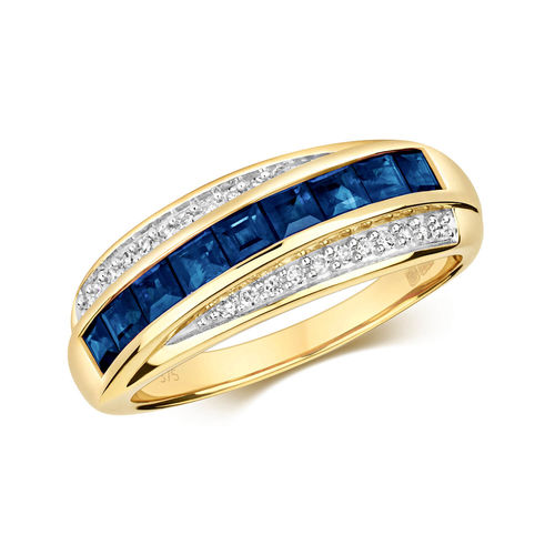 Womens 9ct Gold Diamond & square Sapphire Ring