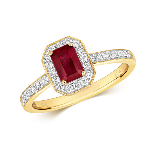Womens 9ct Gold Octagon Ruby & Diamond Cluster Ring