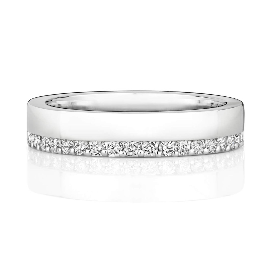 Womens 9ct White Gold 4mm Diamond Wedding Ring Offset Newburysonline