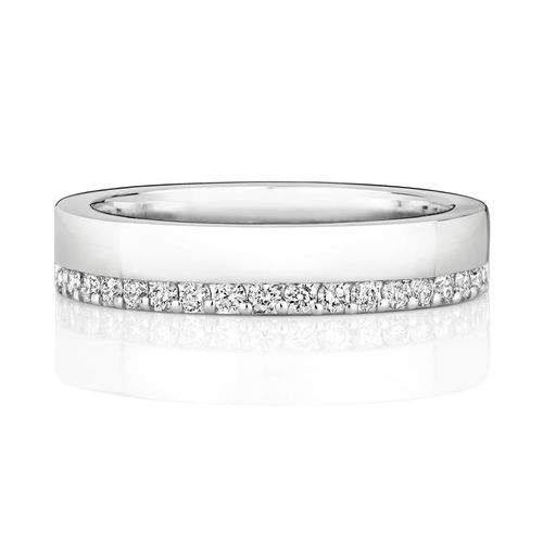 Womens 9ct white Gold 4mm Diamond Wedding Ring Offset