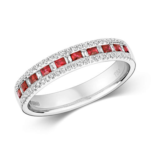 9ct White Gold Princess cut Ruby Baguette Diamond Eternity Ring