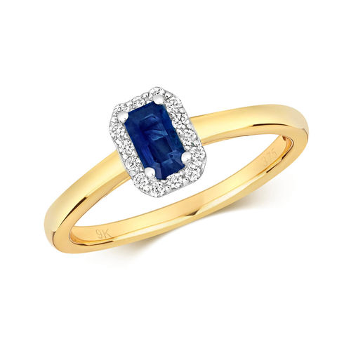 Womens 9ct Gold Octagon Sapphire & Diamond Cluster Ring