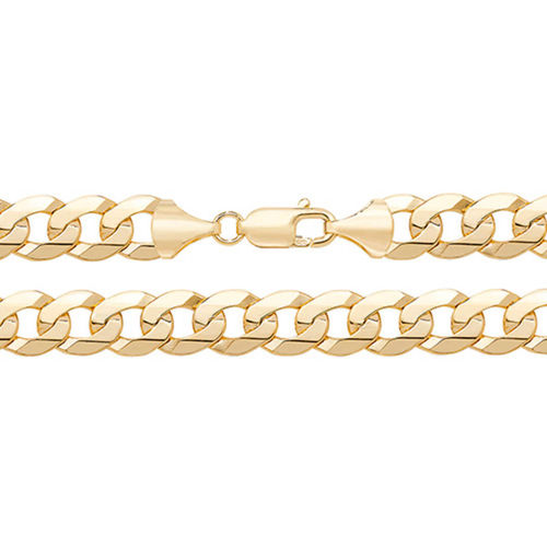Men's 9ct Gold flat bevelled Curb Chain Bracelet 8 inch