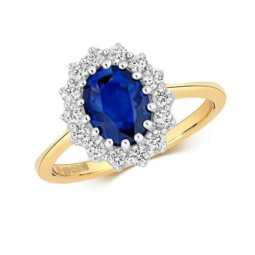 Womens 9ct yellow Gold Sapphire Diamond Cluster Ring