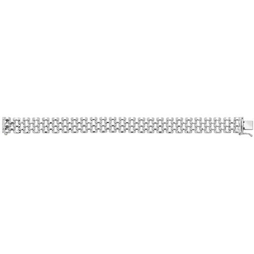 Womens Sterling Silver 5 Row Brick Link Bracelet