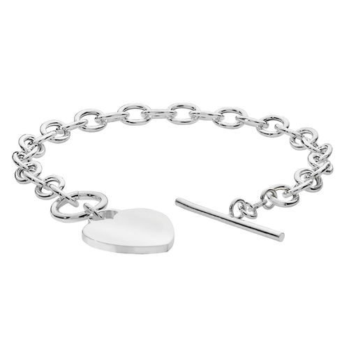 Womens Sterling Silver Heart & T Bar Link Bracelet
