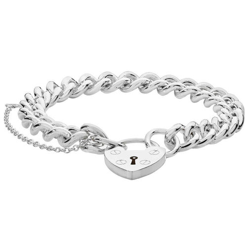 Womens solid Sterling Silver Padlock Charm Bracelet