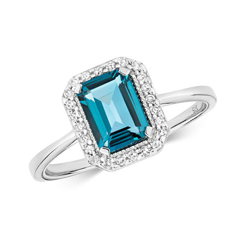 Womens 9ct White Gold Emerald cut London Blue Topaz Diamond Ring
