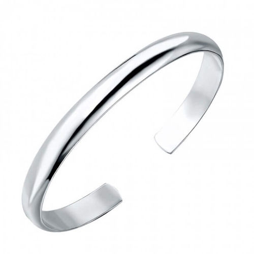 Solid 9 inch Platinum 6mm open cuff D shape Bangle 38 grams