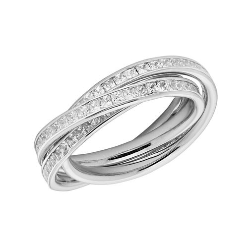 Womens Sterling Silver CZ Russian Ring