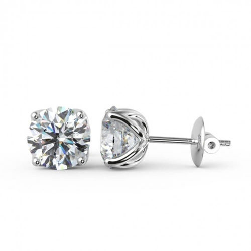 18ct White Gold round Diamond Stud Earrings