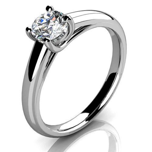 9ct White Gold round Diamond Solitaire Ring