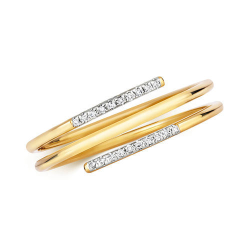 Womens 9ct Gold 2 Row Spiral Diamond Ring