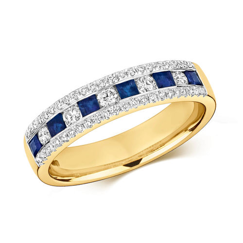 9ct Gold Square Sapphire & Round Diamond Eternity Ring