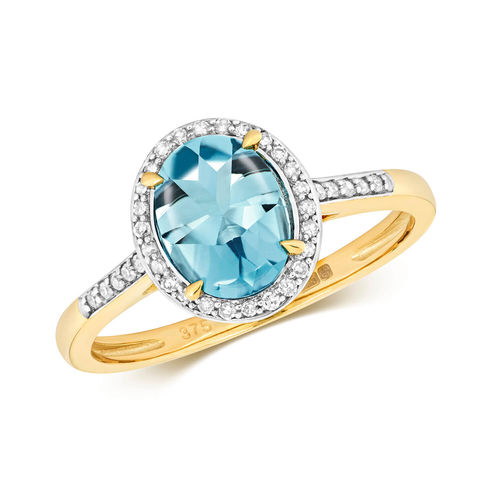 Womens 9ct Gold Oval London Blue Topaz & Diamond Ring