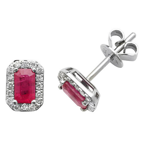 9ct White Gold Octagon Ruby & Diamond Stud Earrings