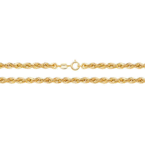 Womens 9ct Gold Rope Chain Necklace 16 inch 5 grams
