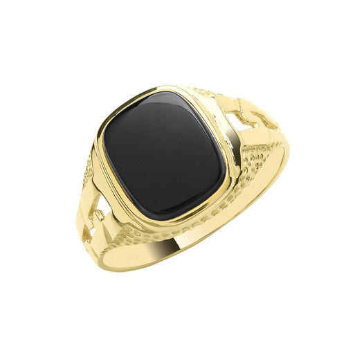 Mens 9ct Gold Black Onyx Cushion Signet Ring
