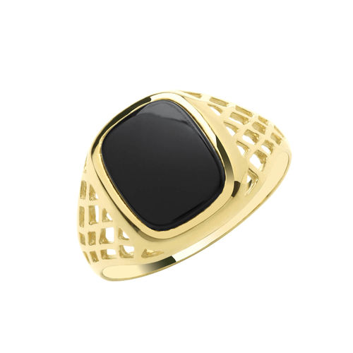 Mens 9ct Gold Cushion Black Onyx BKST Sides Signet Ring