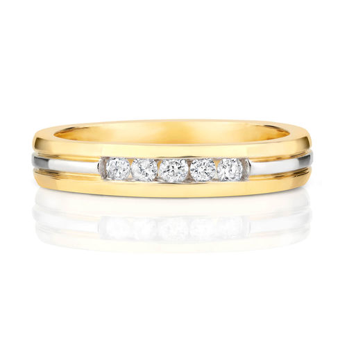 Womens 9ct Gold Diamond Channel set Wedding Ring