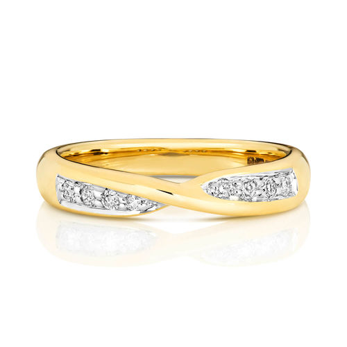 Womens 9ct Gold round Diamond Crossover Wedding Ring