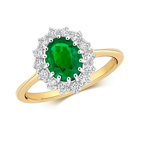 Womens 9ct Gold Diamond & Emerald Cluster Ring