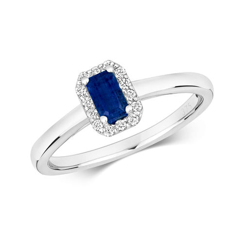 9ct White Gold Octagon Sapphire & Diamond Cluster Ring
