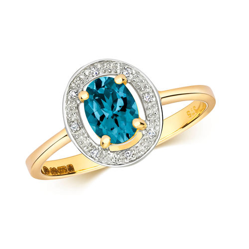 Womens 9ct Gold Diamond & Oval London Blue Topaz Ring