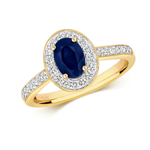 Womens 9ct Gold Diamond Cluster Oval Sapphire Ring