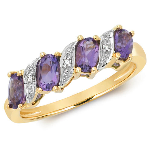 Womens 9ct Yellow Gold Diamond & Oval Amethyst Ring