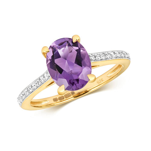 Womens 9ct Gold 9mm Oval Amethyst & Diamond Ring