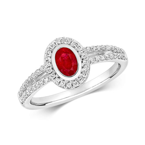 Womens 9ct White Gold Diamond Cluster & Oval Ruby Ring